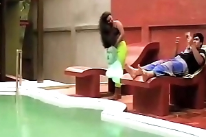 Girl at Swimming Tow-haired Erotic Dance very sexy