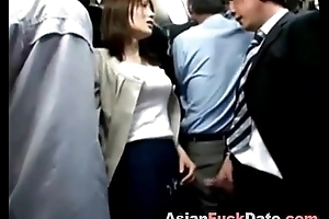 Japanese public bus handjob