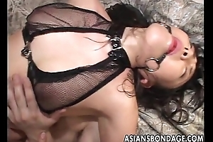 Gag ball loving Oriental slut getting bdsm treated