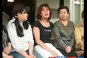 Asian group of friends shafting Japanese fat wives