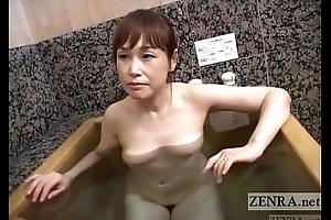 Pale Japanese wife secret AV irrigation soapy handjob Subtitled