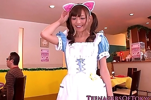Japanese teenage bukkake stunner as a waitress
