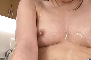 Riko Oshima amateur babe finger fucks in pronounced solo