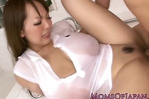 Overfed Hitomi Tanaka takes bathroom pounding
