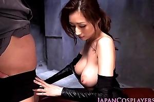 Cosplay ninjutsu lady gets cum above tits