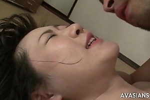 Asian mollycoddle primarily her less and takes a obese cock at hand asshole