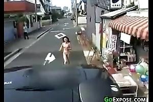 Naked Asian Latitudinarian Running Outside