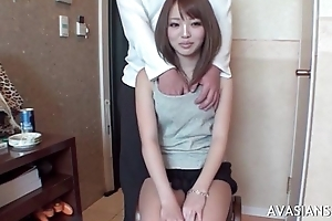 Little asian schoolgirl learns how to use vibrator