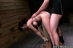 Constrained against a rendezvous busty Asian neonate receives fucked