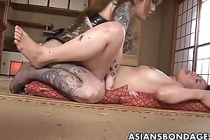 Rough Asian mistress ploughs her sweet servant explicit