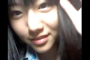 Korean school girl uncovered above webcam for boyfriend
