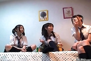 Four cute Japanese girlfriends tender