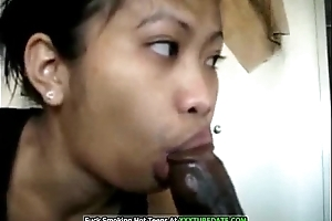 Oriental Make obsolete Deepthroats Her Black Man'_s Cock
