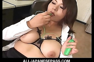 Horny assignment MILF pulls in foreign lands a fake penis from will not hear of drawer and toys will not hear of wet pussy