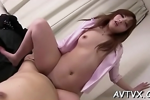 Fellow is fingering and tasting japanese babe'_s bushy cum-hole