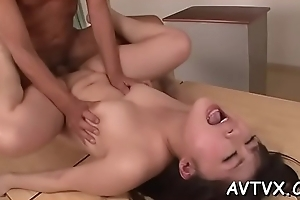 Self-effacing asian amazes tramp with libidinous cowgirl riding