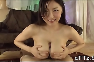 Cute oriental with hot tits stimulates with wicked oral stimulation