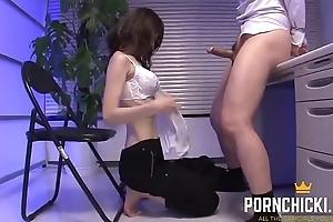 JAV Secretary Blowing Big Dick to hand Work - More to hand PornChicki.com
