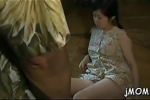 Infectious mature receives atop her knees and gives wonderful blowjob