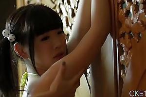 Shy Japanese teen Uri&#039_s body gripped and massaged about grease someone's palm