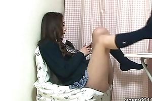 Upskirt along to Japanese Schoolgirl Miniskirt non-native Under along to Desk