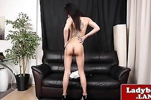Bigtits ladyboy wanks and teases sensually