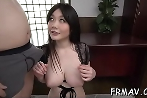 Oriental playgirl receives gaping void thrashing be expeditious for her hairy snatch