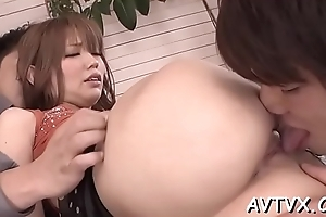 Blissful with the addition of wringing wet japanese oral-sex stimulation