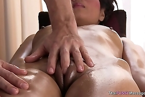 Horny girl gives the masseur a oral job