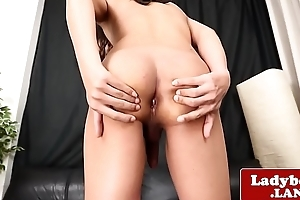 Unescorted ladyboy wanks and teases with her aggravation