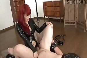 Asian redhead relative to latex pegging slave