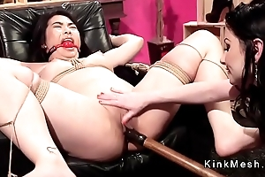 Eleemosynary Asian purchaser spanked and anal fingered