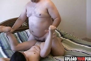 Asian chick gets screwed by white fat dude