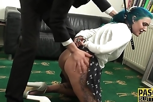 Blue-haired slut acquires double donged in the living room