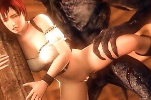 Slutty white-hot riding hood gets DPed overwrought two scary werewolves