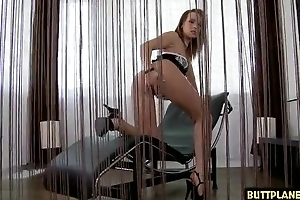 Mouth-watering cosset acquires the brush eager asshole fucked and creamed