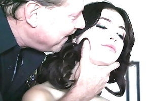 Dark-haired babe adjacent to natural tits acquires fucked hard away from randy policeman
