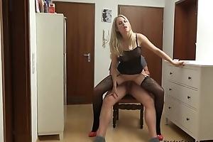 Amateur German MILF serves lover's hollow out close to POV