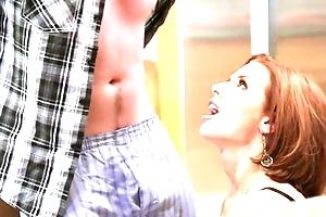 Redhead matured with big Bristols seduced say no to retrogressive stepson