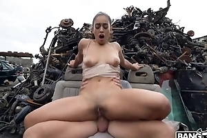 Crestfallen Spanish girl gets fucked hard to hand some abandoned junkyard