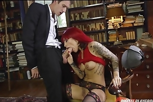 Lustful slut close by tattoos takes Danny's pecker here the brush asshole