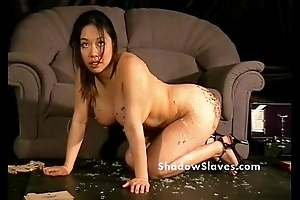 S&m reality show of oriental slave Tigerr Benson drawing punishments and hot waxin