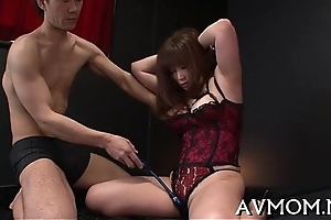 Throb bushy asian deepthroat action