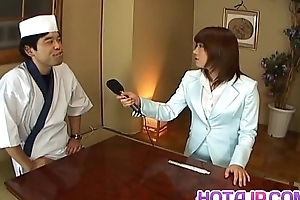 Mitsu Anno acquires cock deepthroat and cum in mouth in food charm
