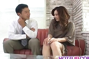Reina Yoshii has snatch rubbed together with sucks appliance until gets cum